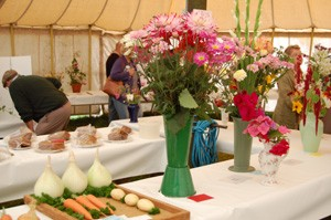 A photo of some flowers and vegetables at the Bream Flower Show