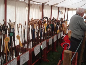 A photo of walking sticks at Bream Stick Show