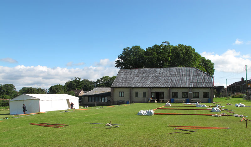 The Tea Tent (left) and the Show Tent awaiting erection
